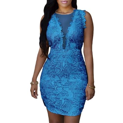Buy Sexy Women Bodycon Dress Floral Crochet Lace Mesh Plunge V Sleeveless Asymmetrical Hem Mini Club Party