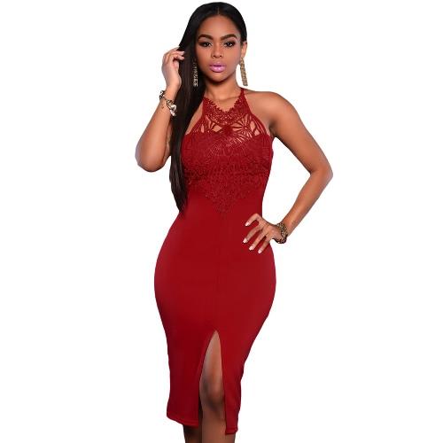 New Women Sexy Slit Dress Off-Shoulder Sleeveless Back Zipper Closure Lace Midi Dress