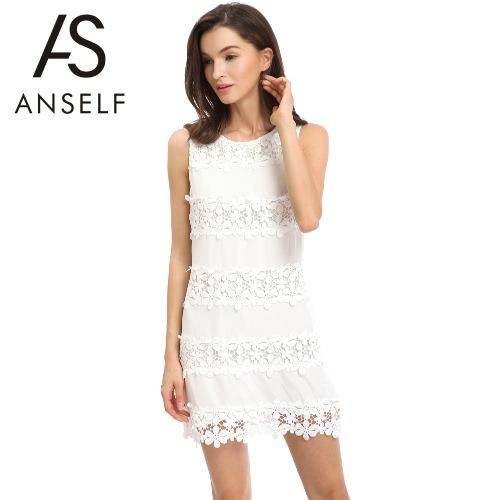 New Fashion Women Chiffon Dress Floral Crochet Sleeveless O-Neck Sweet Mini Dress White