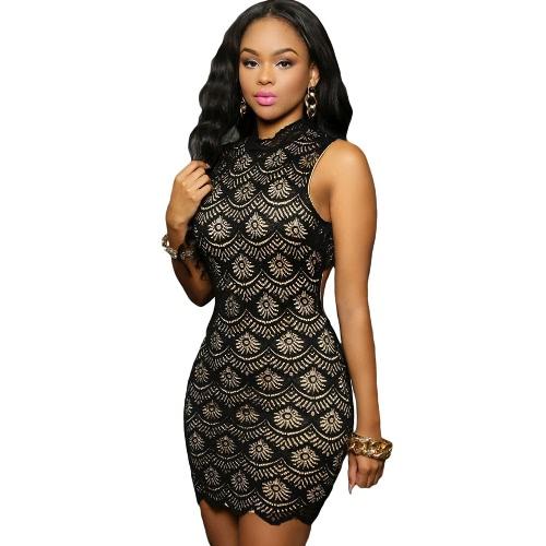 Sexy Women Bodycon Lace Dress Turtleneck Button Back Lined Clubwear Party Mini Dress Black/Blue/Red