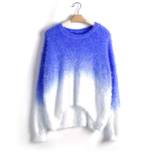New Fashion Women Gradient Sweater Knitted Fluffy Mohair Batwing Sleeve O Neck Loose Sweater PulloverKnitwear<br>New Fashion Women Gradient Sweater Knitted Fluffy Mohair Batwing Sleeve O Neck Loose Sweater Pullover<br><br>Blade Length: 25.0cm