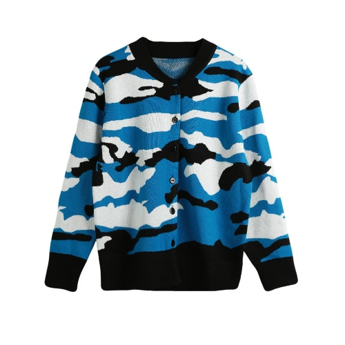 New Winter Women Knitted Cardigan Camouflage Pattern Button O-Neck Long Sleeves Casual Loose Outerwear Coat G2993BL
