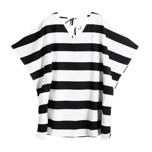 New Fashion Women Beach Dress Stripe Design V-Neck Tie Back Half Sleeve Mini Dress Cover-Up White