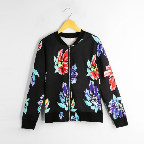 New Women Bomber Jacket Floral Print Stand Collar Long Sleeve Zipper Vintage Baseball Coat Outwear Black