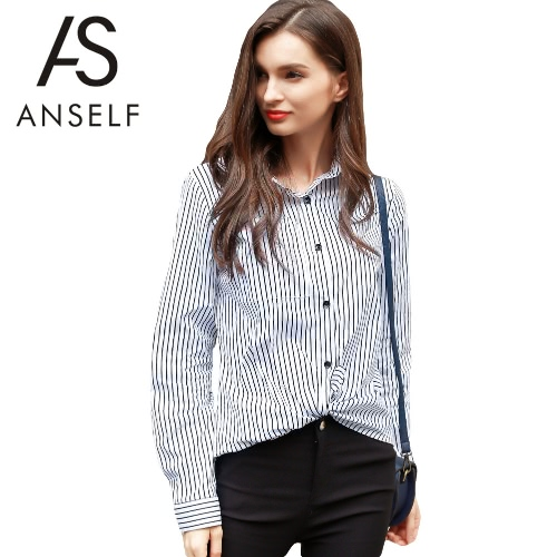 New Fashion Women Shirt Stripe Print Point Collar Button Long Sleeve OL Lade Blouse Top White