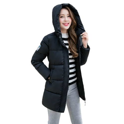 New Fashion Women Padded Coat Hooded Zipper Fastening Pockets Long Sleeve Casual Outwear Black/Light Grey