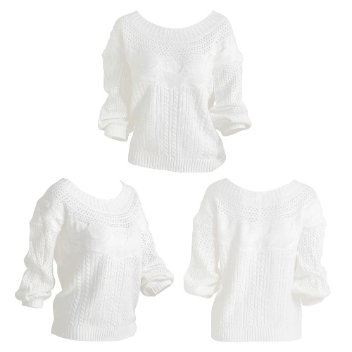 New Women Off The Shoulder Knitted Sweater Hollow Out Pullover Stripes Long Lantern Sleeve Knitwear Jumper Top White G3033W-XL