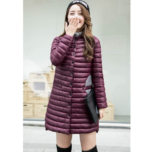Image of Women Padded Coat Contrast Patch Pockets Fur Stand Collar Covered Button Slim Coat Outwear Black/Burgundy/Dark Blue