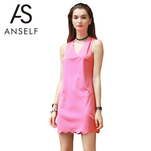 Summer Women Tank Dress V Neck Sleeveless Scalloped Edge Mini Dress Straight Sundress Shift Dress PinkDresses<br>Summer Women Tank Dress V Neck Sleeveless Scalloped Edge Mini Dress Straight Sundress Shift Dress Pink<br><br>Blade Length: 25.0cm
