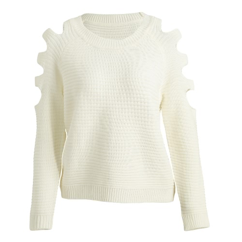 Fashion Women Knitted Sweater Jumper Cut Out Round Neck Long Sleeves Pullover Knitwear Beige