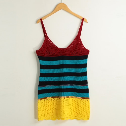 Fashion Hollow Out Contrast Color Round Neck Sleeveless Women's Knitted Mini Dress