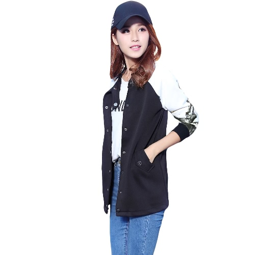 New Women Bomber Jacket Tops Printed Stand Collar Button Long Baseball Coat Casual Sport Outerwear Black G3089B-M