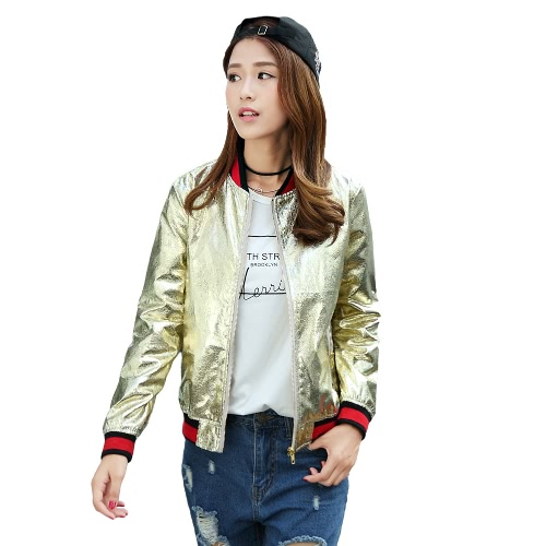New Fashion Women Bomber Jacket PU Leather Long Sleeve Pockets Baseball Coat Outerwear Silver/Gold G3098G-M