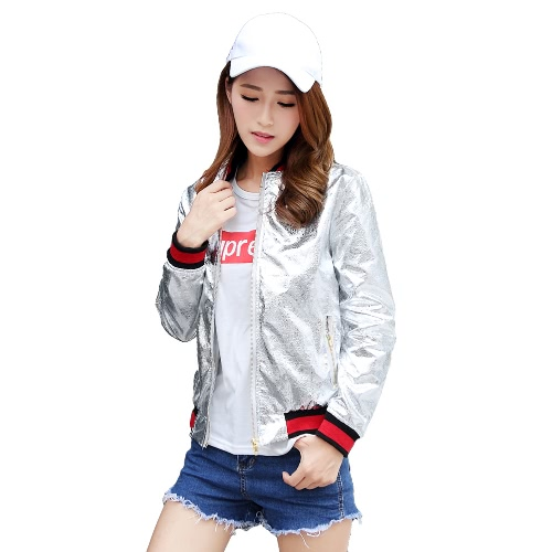 New Fashion Women Bomber Jacket PU Leather Long Sleeve Pockets Baseball Coat Outerwear Silver/Gold G3098S-L