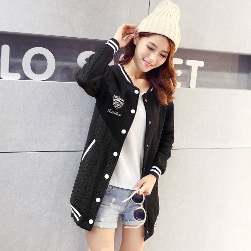 Women Long Bomber Jacket Appliques Press Stud Round Neck Long Sleeves Baseball Coat Outwear Black/White G3102B-L