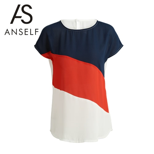 Fashion Women Color-Block Blouse Keyhole Button Back Cap Sleeves O Neck Loose Splicing T-Shirt Casual Top WhiteShirts &amp; Blouses<br>Fashion Women Color-Block Blouse Keyhole Button Back Cap Sleeves O Neck Loose Splicing T-Shirt Casual Top White<br><br>Blade Length: 28.0cm