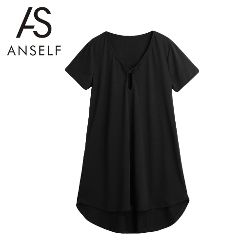 New Sexy Women Solid Mini Dress Cut Out V-Neck Asymmetric Hem Loose Pullover Casual A-Line Dress Black