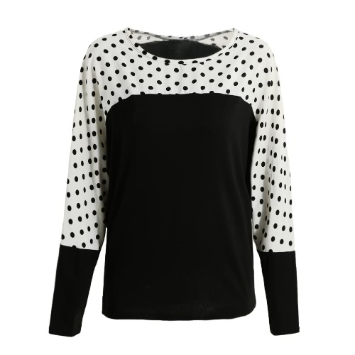 New Fashion Women Blouse Polka Dot Print Contrast Color Splice Batwing Long Sleeve Casual Loose T-Shirt Tops Black