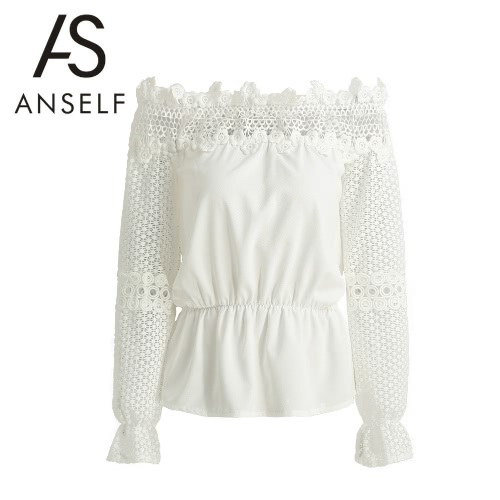 New Fashion Women Blouse Off Shoulder Crochet Lace Splice Hollow Out Flare Long Sleeve Elegant Shirt T-Shirt Tops White G3141W-S