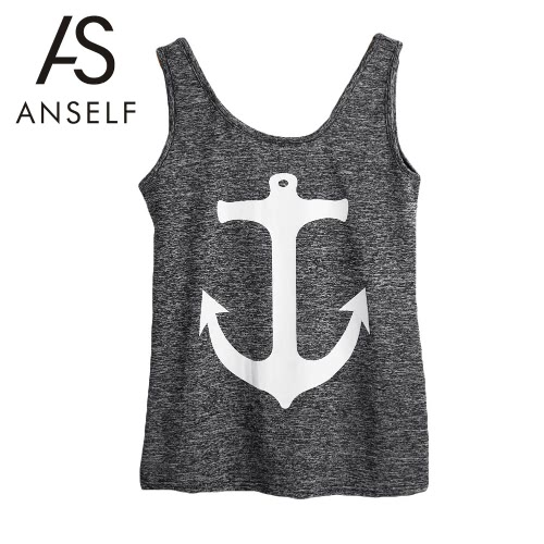 New Fashion Women Tank Top Anchor Print Scoop Neck Sleeveless Casual Vest Top T-Shirt Grey G3148GY-M