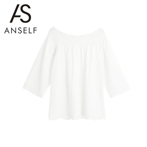 New Elegant Women Off Shoulder Blouse Embroidery Hollow Out Shirt Scalloped Hem Long Sleeve Loose Sexy Top WhiteShirts &amp; Blouses<br>New Elegant Women Off Shoulder Blouse Embroidery Hollow Out Shirt Scalloped Hem Long Sleeve Loose Sexy Top White<br><br>Blade Length: 20.0cm