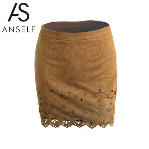 New Fashion Women Mini Skirt Faux Suede Floral Hollow Out Pattern Scalloped Hem Slim Fit Khaki
