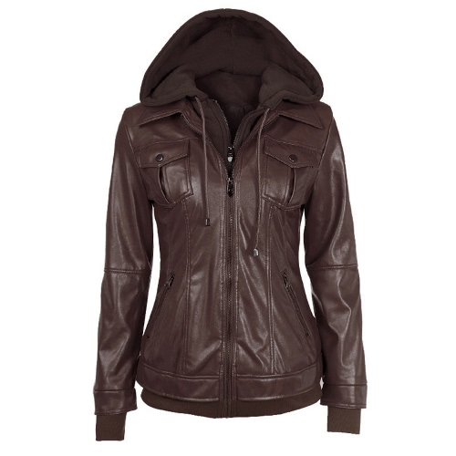New Vintage Women Faux Two-Piece PU Jacket Chest Pocket Zipper Closure Hooded Long Sleeves Coat Outerwear