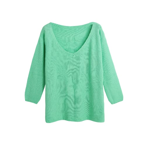 Fashion Women Knitted Sweater Jumper Solid Color V-Neck Long Sleeve Casual Loose Warm Pullover Knitwear