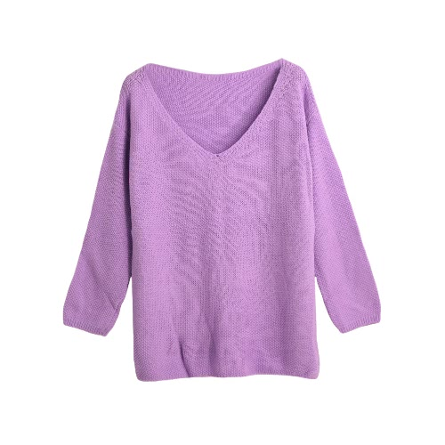 Fashion Women Knitted Sweater Jumper Solid Color V-Neck Long Sleeve Casual Loose Warm Pullover Knitwear G3182PU-M
