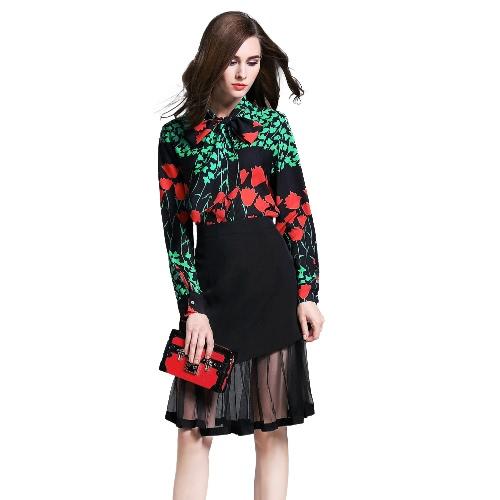 New Fashion Women Two Piece Set Shirt Skirt Colorblock Floral Print Bow Neck Mesh Ruffle Hem Elegant Suits Black G3185B-L