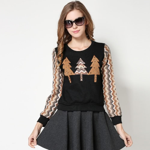 Fashion Women Trees Pattern Sweatshirt Rhinestones Decoration Long Sleeve Pullover Hoodie Black