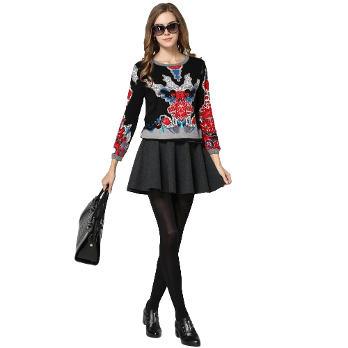 New Vintage Women Knitted Pullover Ethnic Print O Neck Long Sleeve Casual Sweatshirt Hoodies Tops Black