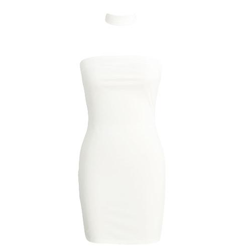 New Sexy Women Dress Backless Halter Strap Sleeveless Zipper Solid Bodycon Nightclub Party Mini Dress White/ Pink