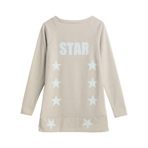 New Women Autumn Winter Casual T-Shirt Star Letter Print Pullover Long Sleeves Hoody Sweatshirts Top Beige