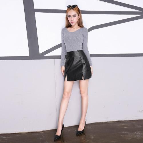 New Women Mini Skirt PU Leather Slit Front Side Zipper Soft Slim A-Line Skirt BlackBlazers &amp; Coats<br>New Women Mini Skirt PU Leather Slit Front Side Zipper Soft Slim A-Line Skirt Black<br><br>Blade Length: 20.0cm