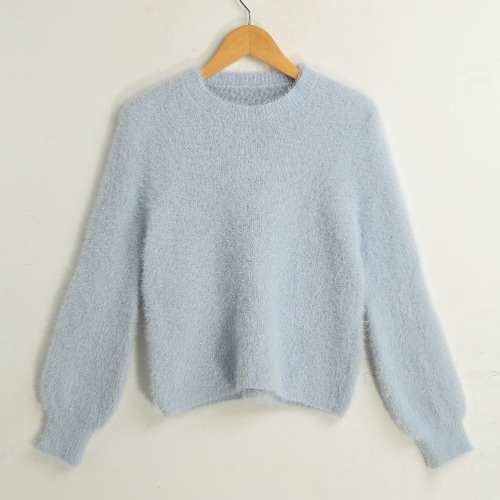 New Fashion Women Knitted Sweater Solid Color O-Neck Long Sleeve Casual Thick Warm Jumper Pullover Knitwear G3314BL