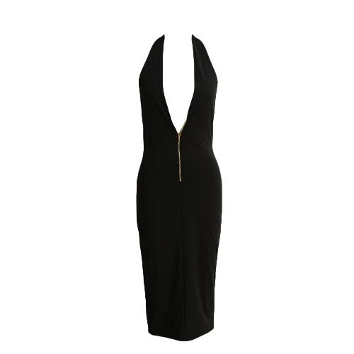Sexy Women Bodycon Dress Front Zipper Deep V-Neck Backless Clubwear Club Party Dress Black