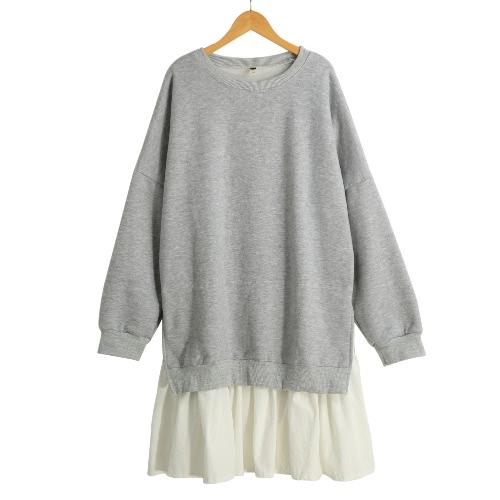 Buy Fashion Women Dress Faux Two-Piece Pleated Hem Splicing O-Neck Long Sleeve Hoody dress Grey/Pink
