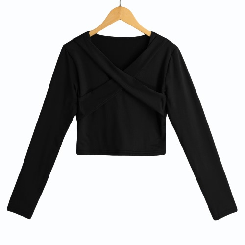 New Sexy Women Solid Crop Top Blouse Cross Bandage V-Neck Long Sleeves Pullover Casual Short Shirt
