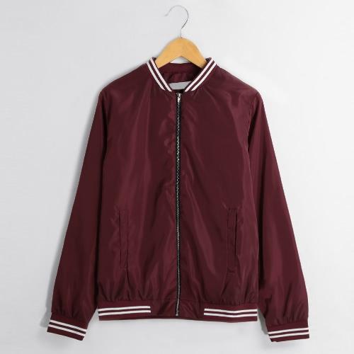 New Winter Women Biker Bomber Jacket Slim Short Zipper Coat Vintage Outerwear Long Sleeve Burgundy/Coffee G3391BU-M