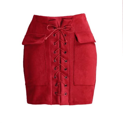 Fashion Women Lace Up Suede Leather Skirt High Waist Vintage Pocket Preppy Bodycon Short Pencil SkirtBlazers &amp; Coats<br>Fashion Women Lace Up Suede Leather Skirt High Waist Vintage Pocket Preppy Bodycon Short Pencil Skirt<br><br>Blade Length: 25.0cm