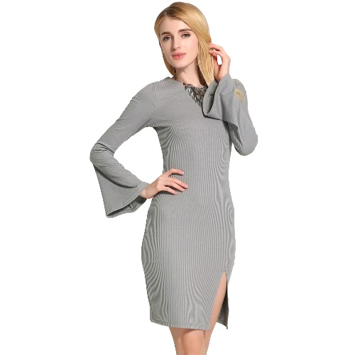 New Sexy Women Knitted Dress Solid Color Cross Strap Flare Sleeve Split Slim Bodycon Ribbed Warm Dress Knitwear