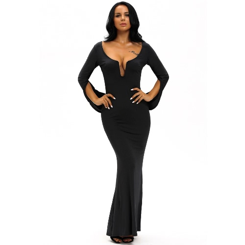 Buy Women Ball Gown Party Bodycon Dress Cape Shawl Mermaid Plunge V Neck Cocktail Evening Prom Maxi Long Black/White