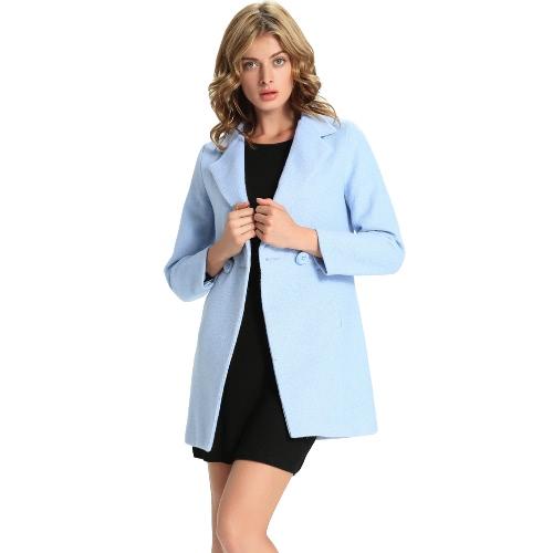 New Winter Women Midi Wool Coat Solid Button Side Pockets Long Sleeves Elegant Warm Outwear Jacket BlueBlazers &amp; Coats<br>New Winter Women Midi Wool Coat Solid Button Side Pockets Long Sleeves Elegant Warm Outwear Jacket Blue<br><br>Blade Length: 32.0cm