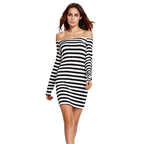 New Fashion Women Dress Stretch Striped Print Off Shoulder Slim Mini Sexy One-Piece White