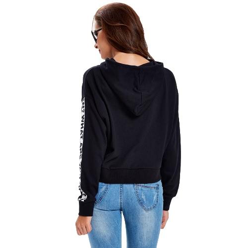 New Fashion Women Hoodie Sweatshirts Letter Printed Long Sleeve Self-tie Pullover Hooded Loose Tops Hoody Black