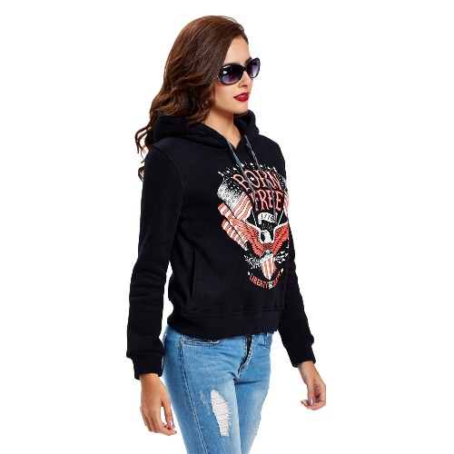 New Fashion Women Hoodie Sweatshirts National Flag Letter Printed Long Sleeve Self-tie Pullover Hooded Loose Tops Black