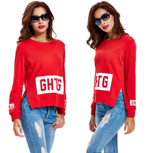 New Women Sweater Pullover Letter Print O-Neck Side Split Long Sleeve Casual Warm Top Red