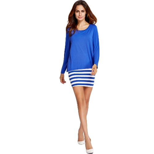 New Fashion Women Dress Solid Color Stripe Splice Round Neck Long sleeve Casual Dress Blue