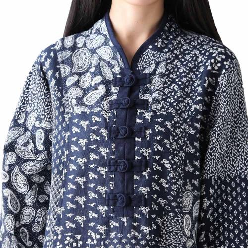 New Women Cotton Linen Vintage Dress Floral Print Long Sleeves Loose Elegant Long Retro Dress